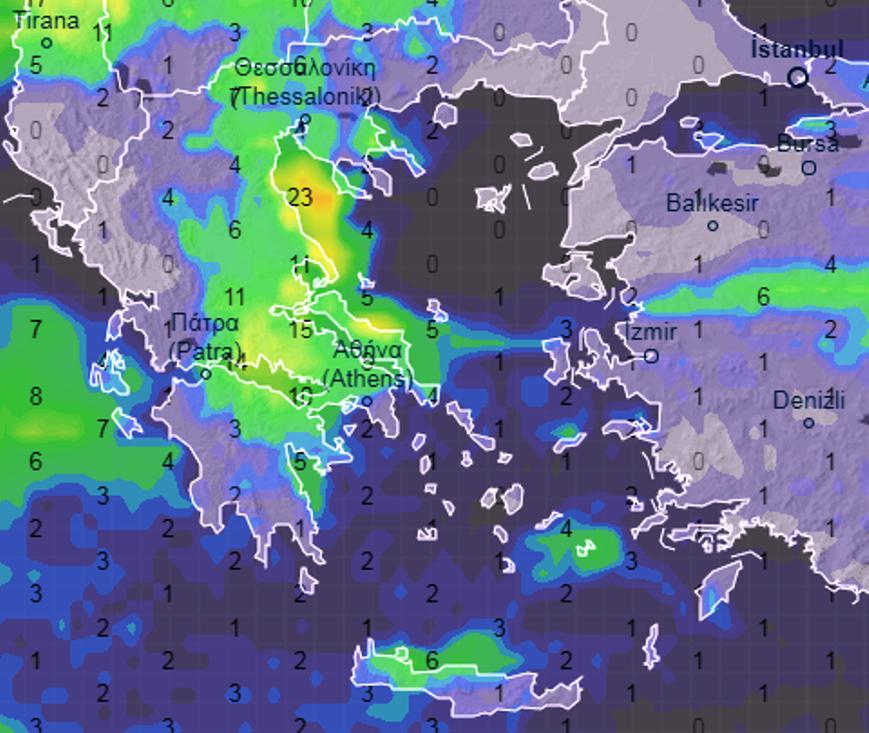 adfds - Καιρός Θεσσαλίας 8-10/3/2021 (χάρτης βροχής)