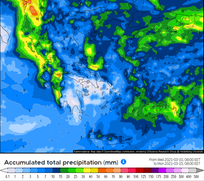 fdd - Καιρός Θεσσαλίας 11-14/3/2021 (χάρτης βροχής)